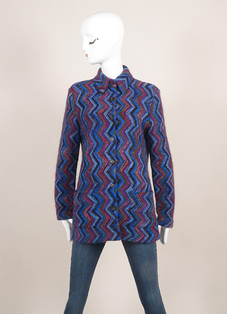 Missoni Blue Multicolor Wool Knit Chevron Long Sleeve Cardigan Sweater SZ 42 Frontview