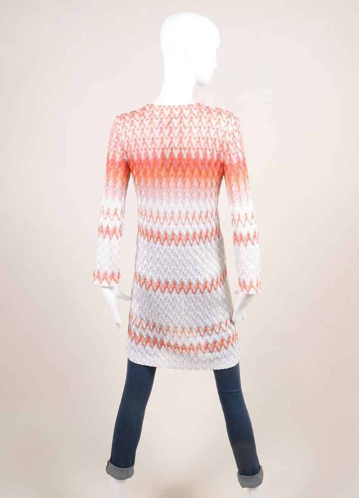 Missoni New With Tags Orange and White Zig Zag Knit Button Down Long Cardigan Backview