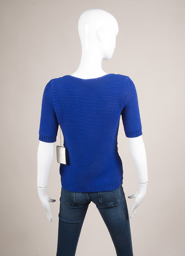 Moschino Cheap and Chic New With Tags Blue Cotton Shell Embellished Sweater Backview