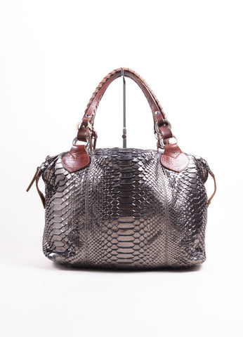 "Pauric Sweeney Metallic Silver and Brown Python Leather ""Overnight"" Satchel Handbag Frontview"