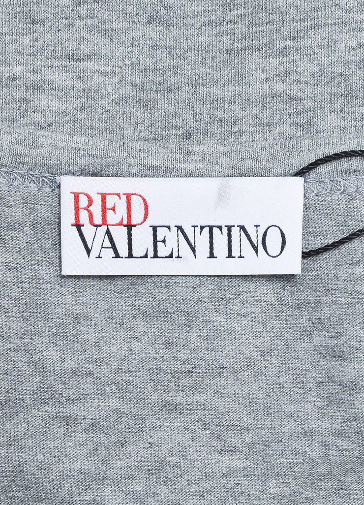 Red Valentino Grey and Black Sheer Sleeve T-Shirt Top Brand