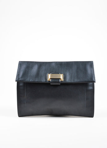 Black Reed Krakoff  Leather Flap Large Clutch Frontview