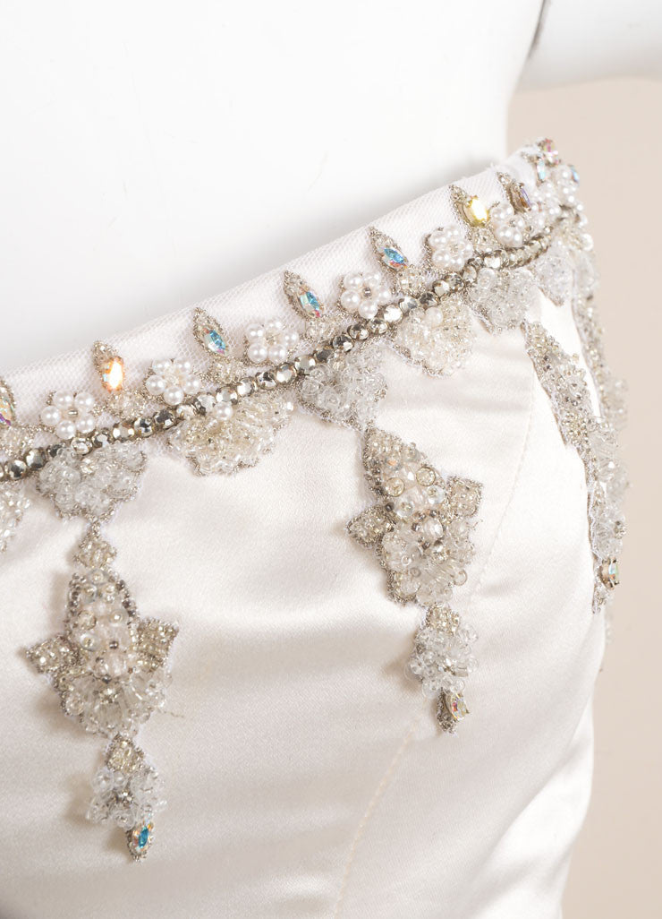 Reem Acra Cream Satin Tulle Crystal Embroidered Strapless Princess Wedding Gown Detail