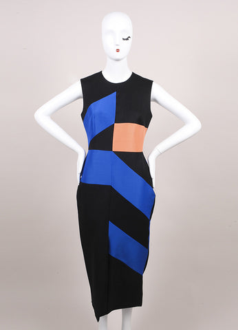 Roksanda Ilincic New Charcoal Grey, Blue, and Orange Midi Villare Dress Frontview