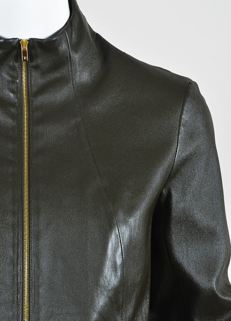 "The Row Dark Brown Leather ""Loden"" Collarless Jacket Detail"