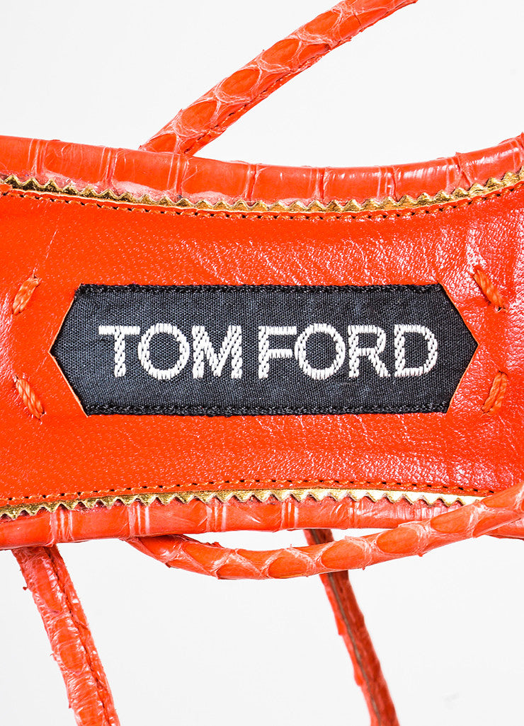 Tom Ford Red Snakeskin Ankle Wrap Platform Sandals Brand