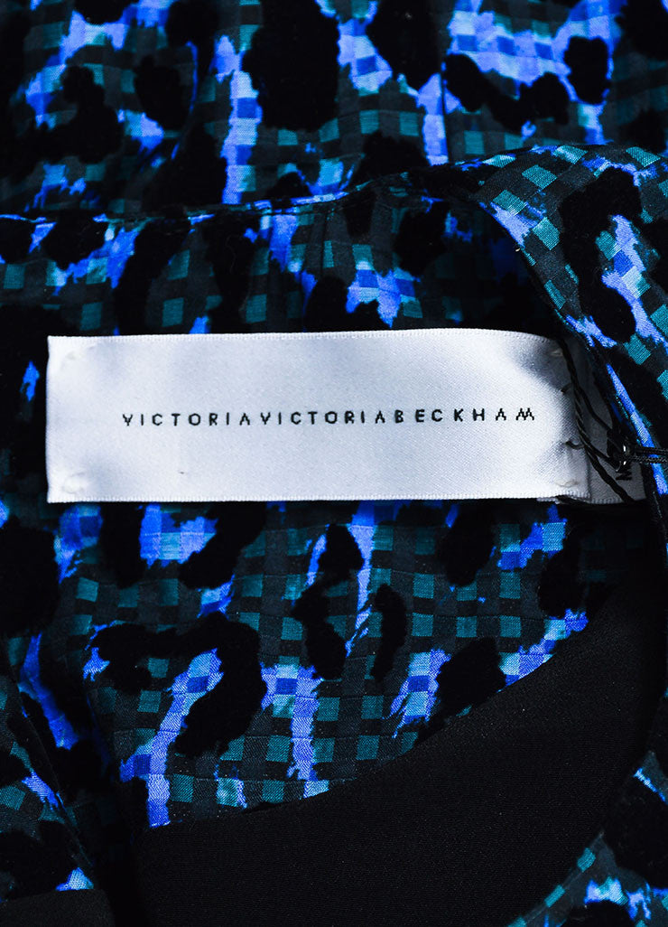Blue and Black VICTORIA Victoria Beckham Velvet Leopard Gingham Belt Dress Brand