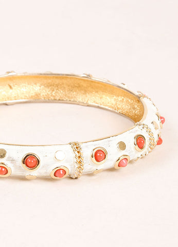Boucher Gold Toned, White, and Coral Lucite Studded Bangle Bracelet Detail