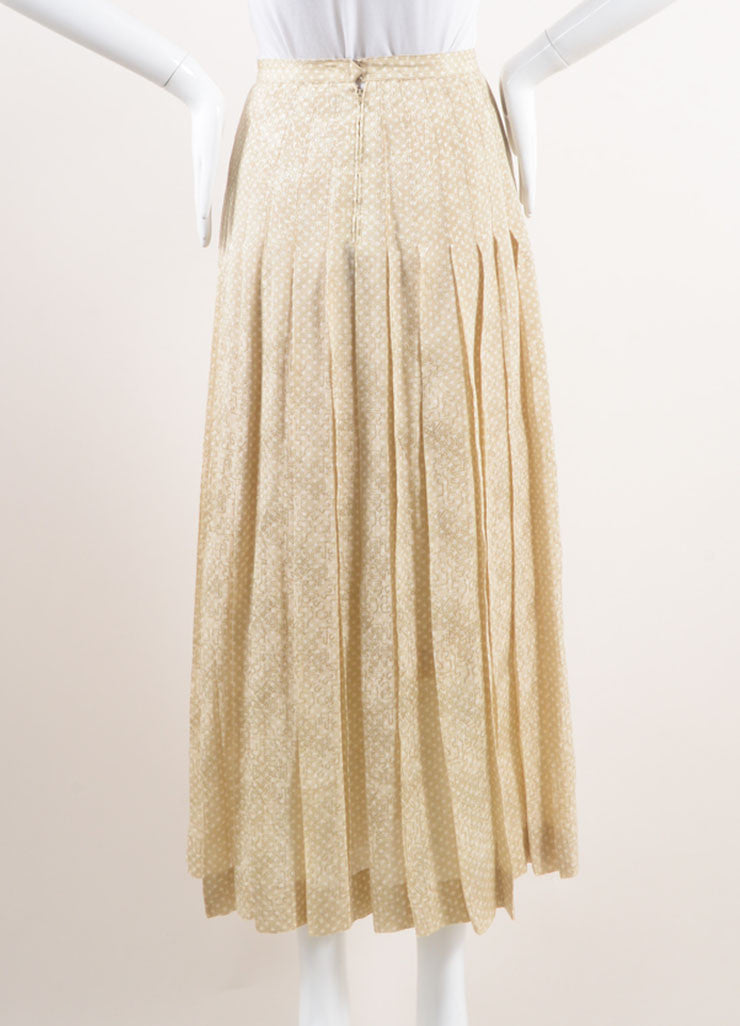 Chanel Beige and White Polka Dot Jacquard Pleated Silk Skirt Backview