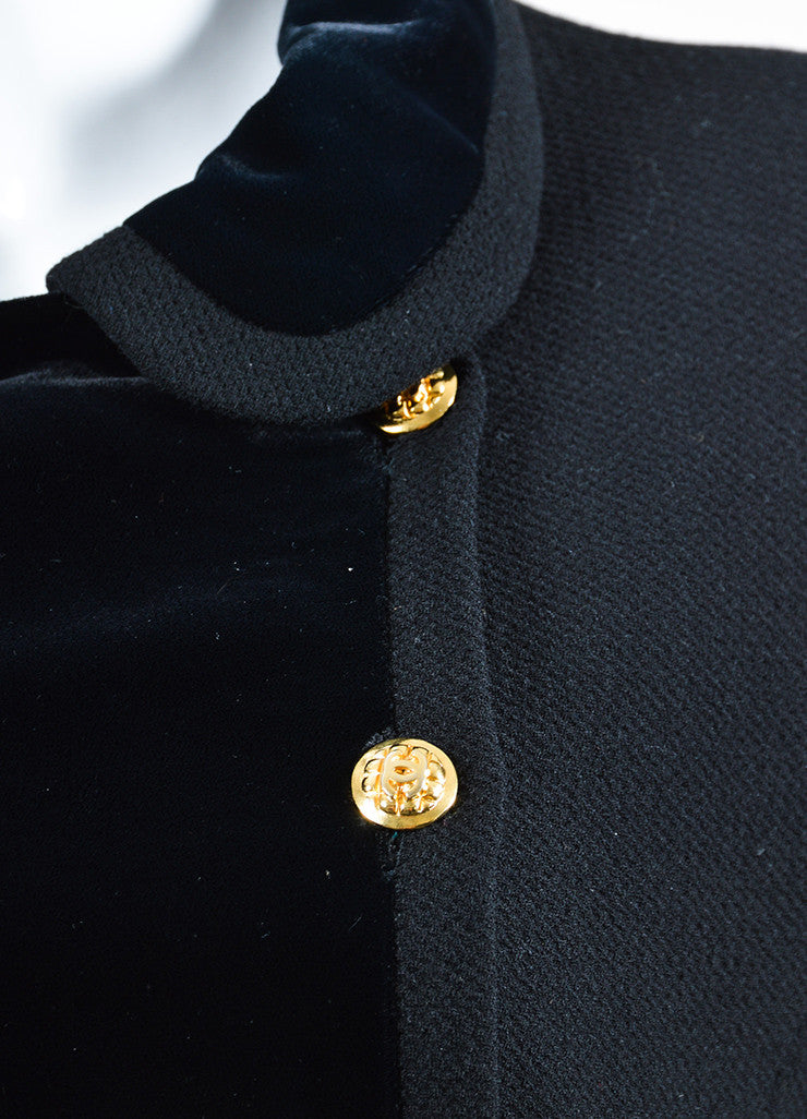 Black and Gold Chanel Wool and Velvet 'CC' Button Double Breasted Jacket Detail