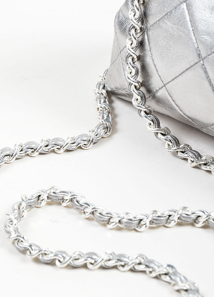 Metallic Silver Chanel Leather Quilted Crossbody Chain Frame Evening Bag Detail 2