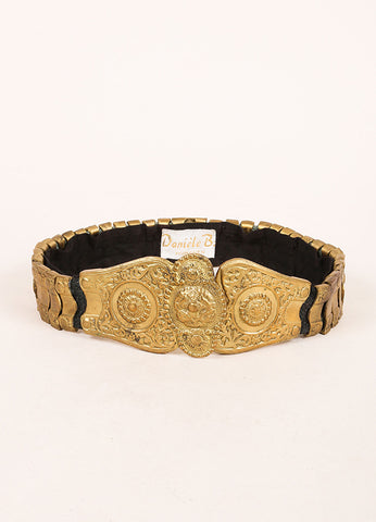 Daniele B. Munchen Gold Toned Etched Metal Decorative Waist Belt Frontview