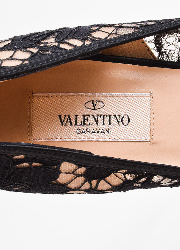 Valentino Black and Nude Lace Platform Peep Toe Bow Pumps Brand