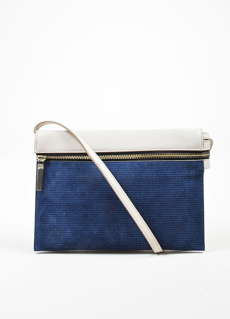 Grey and Blue Victoria Beckham Leather Suede Detachable Strap Zip Clutch Frontview