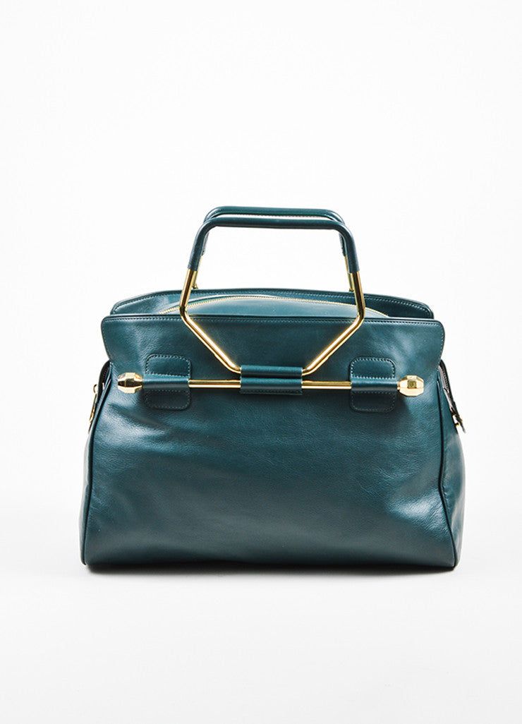 "Hunter Green Viktor & Rolf Leather Top Handle ""Bombette"" Satchel Bag Frontview"