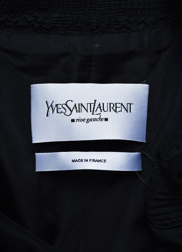Black Yves Saint Laurent Wool Pleated Ruffle Trim Jacket Brand