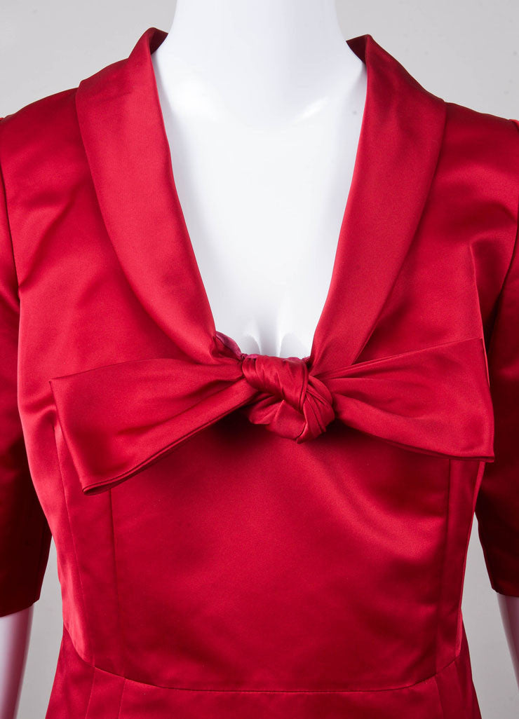 Deep Red Valentino Roma Bow Detail Dress