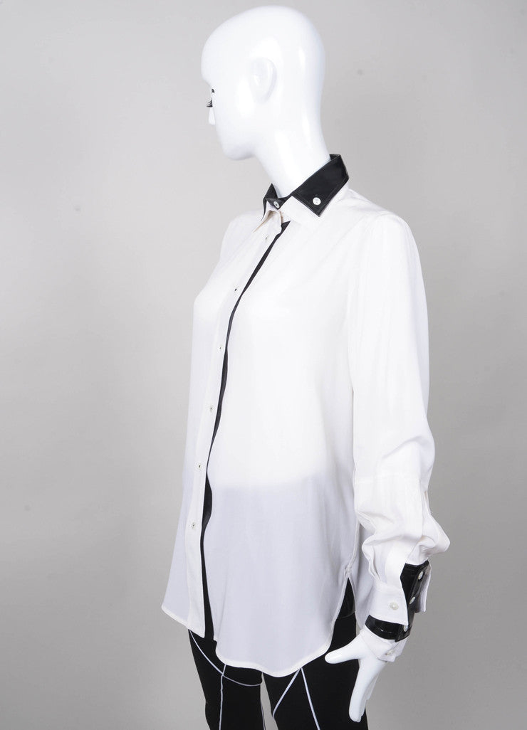 Button Down Blouse with Removable Patent Cuffs and Collar
