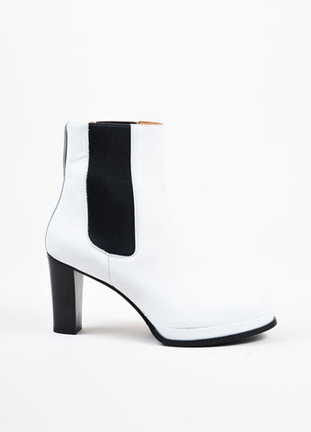 Acne Studios White Leather Black Elastic High Heel Platform Chelsea Boots Sideview
