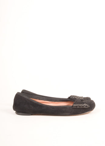 Alaia Black Grommet Bow Rounded Toe Suede Leather Flats Sideview