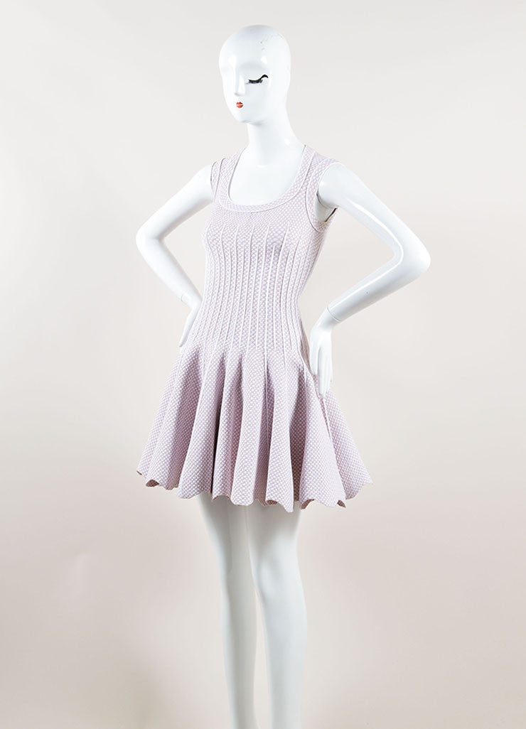 Alaia Light Pink and White Stretch Knit Scoop Neck Spotted Flare Dress Sideview