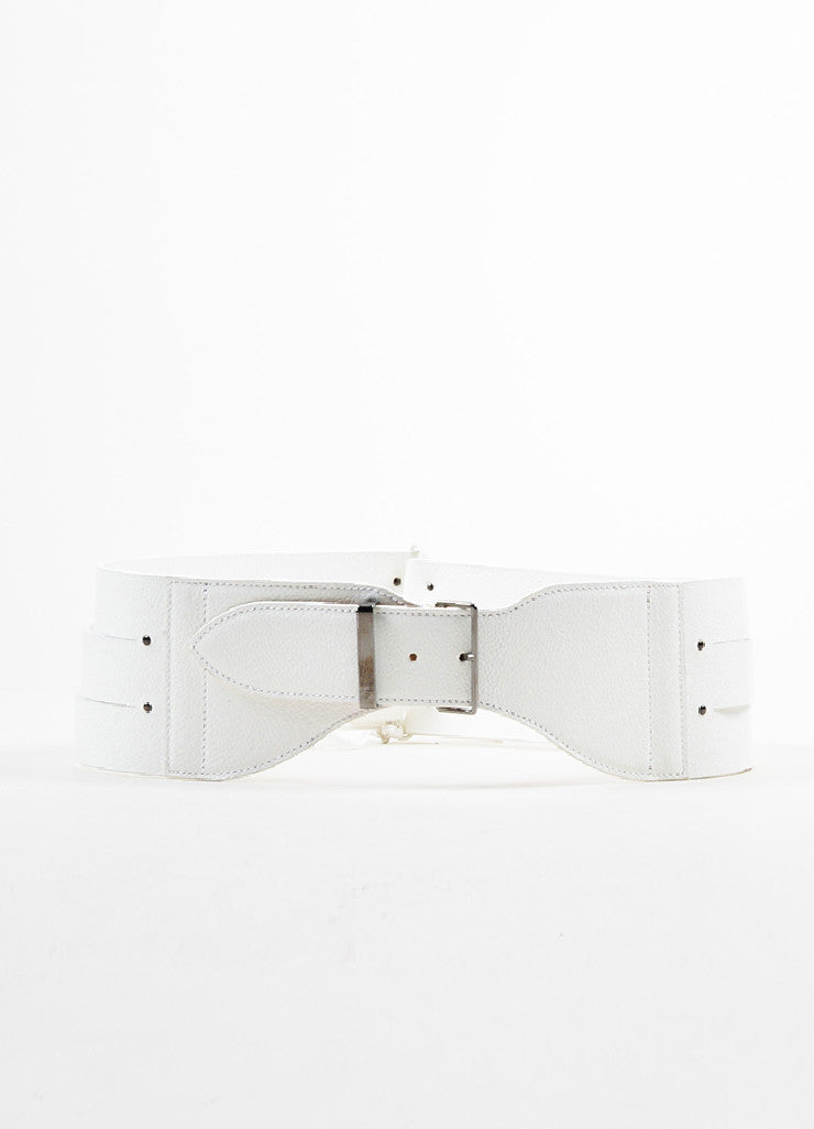 Alaia White Leather Triple Strap Corset Tie Buckle Waist Belt Backview