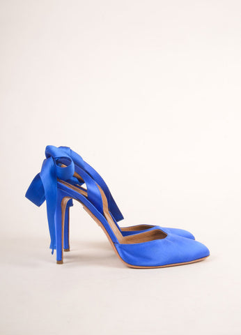 Aquazzura Blue Satin Slingback Bow Closed Toe Pumps Sideview