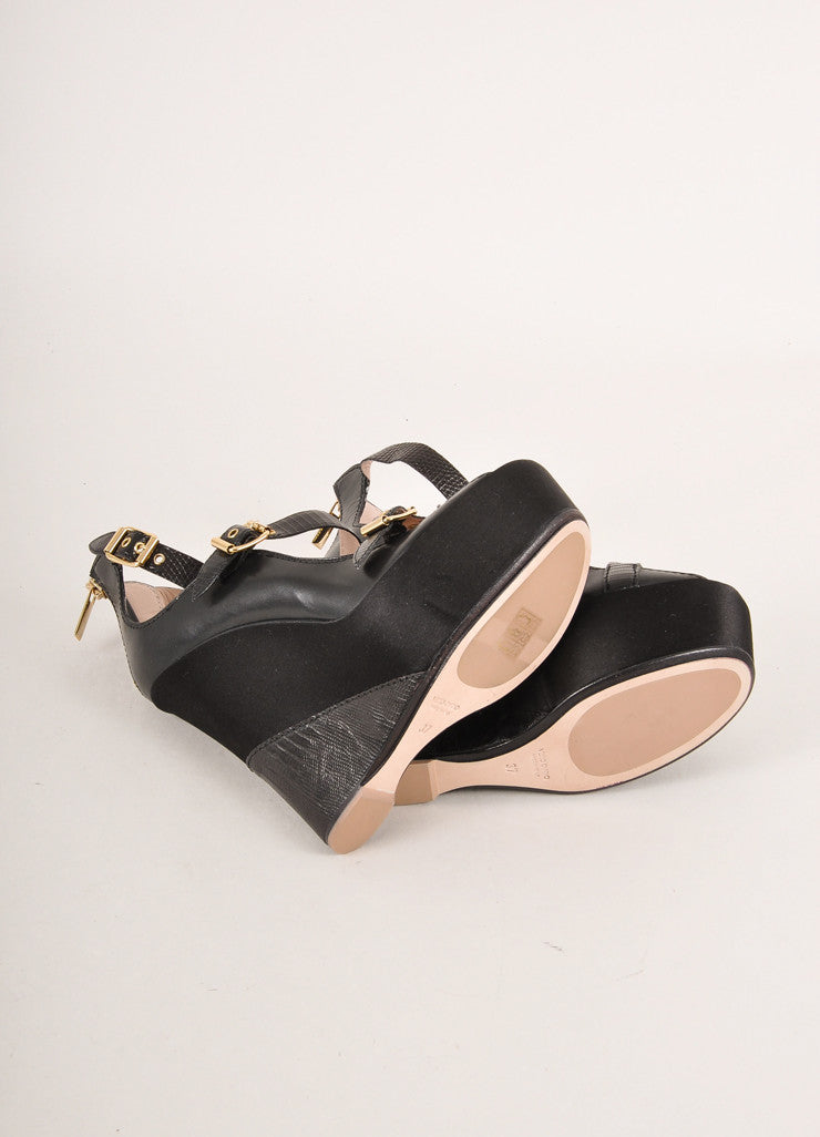 Baldan Black and Gold Toned Triple Buckled Strap Leather and Satin Wedges Outsoles