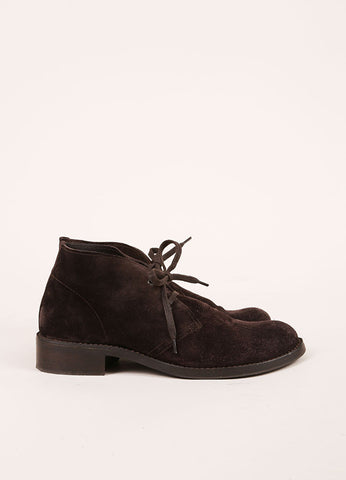 Bottega Veneta Dark Brown Suede Leather Lace Up Shoes Sideview