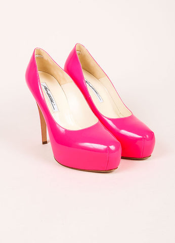 "Brian Atwood Neon Pink Patent Leather ""Maniac"" Platform Pumps Frontview"