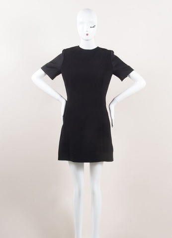 Celine Black Satin Sleeve Shift Dress Frontview