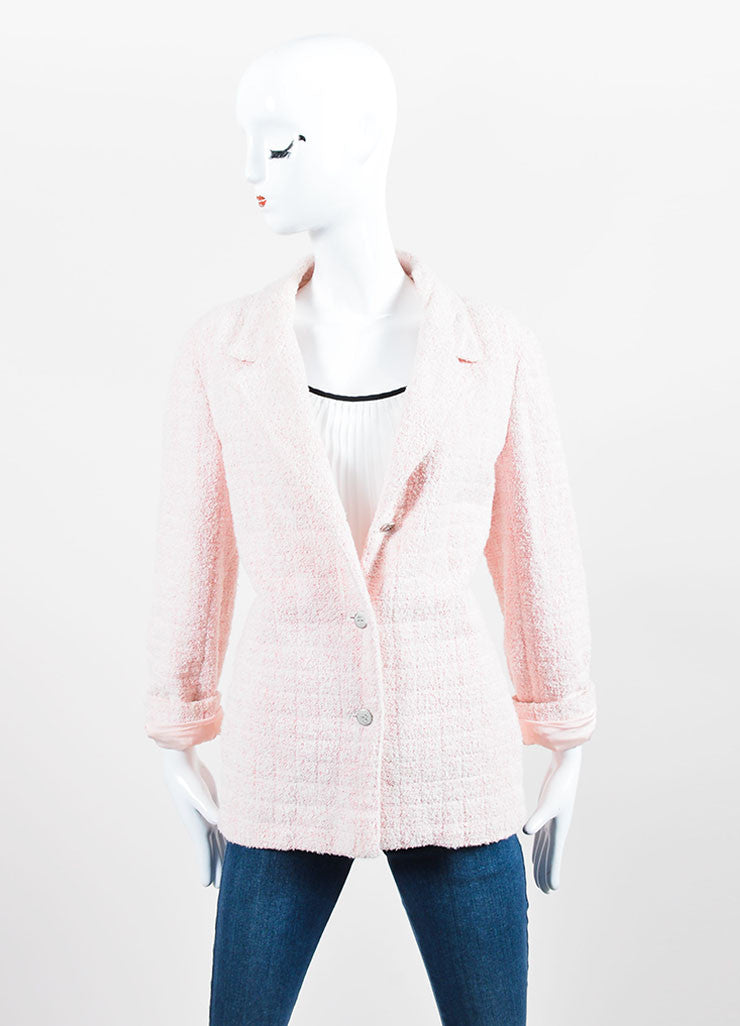 Pink and White Chanel Boucle Knit 'CC' Button Jacket Frontview