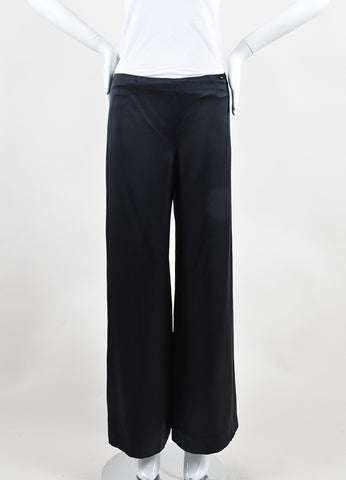 Chanel Black Silk Side Zip Wide Leg Palazzo Pants Frontview