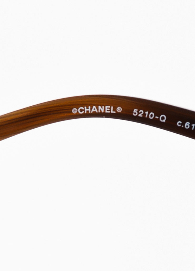 "Chanel Brown and Gold Toned Acetate Lambskin ""Square Chain"" Sunglasses Brand"