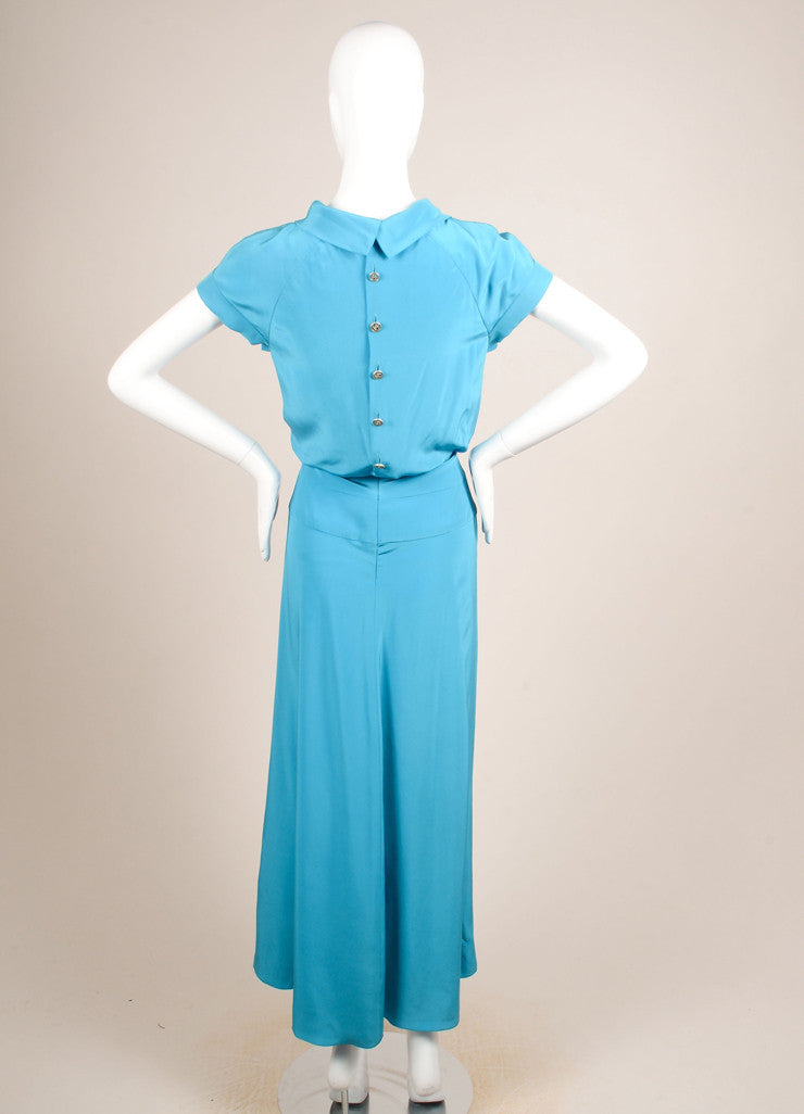 "Chanel Blue Silk and Silver Toned ""CC"" Button Short Sleeve Gown Backview"