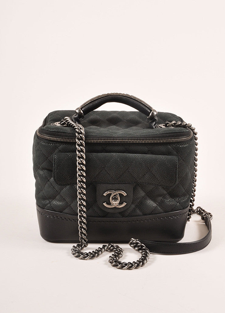 Chanel Black Grained Calfskin Leather Globe Trotter Vanity Case Bag Frontview