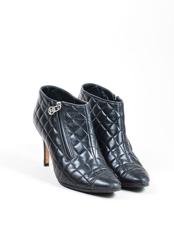 Black Chanel Leather Quilted 'CC' Cap Toe Heeled Ankle Booties Frontview