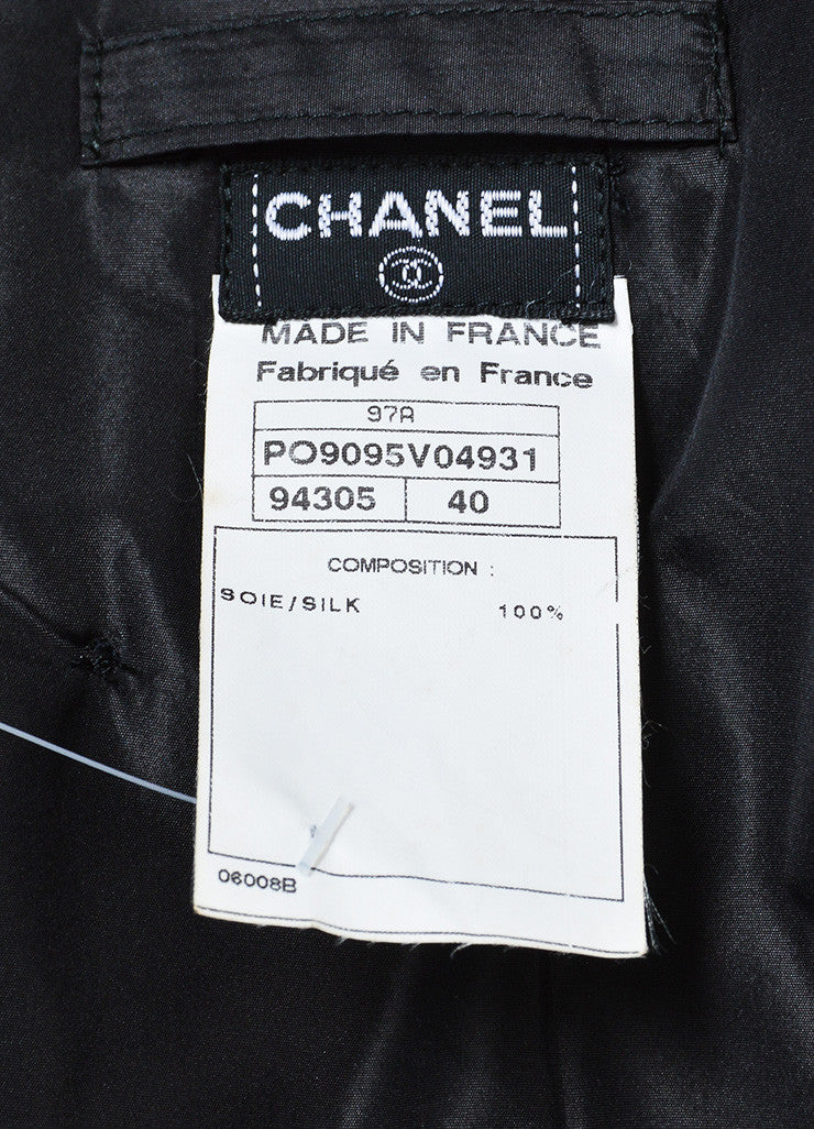 Black Chanel Silk Beaver Fur Collar Zip Jacket Brand