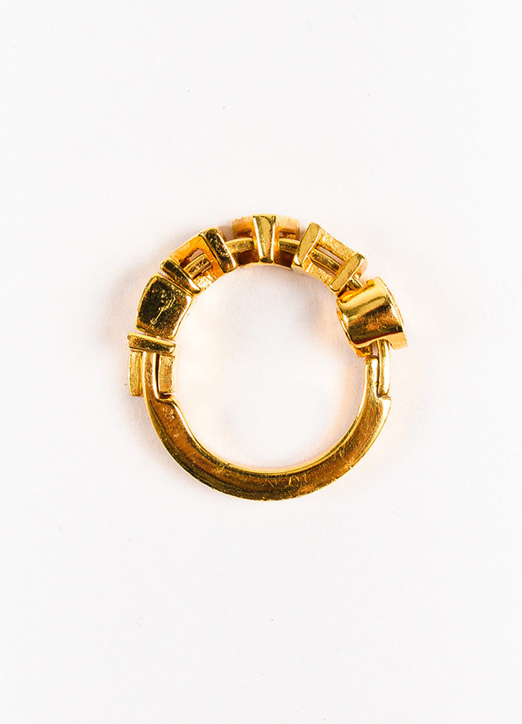 Chanel Gold Toned Charm Letter Embellished Band Ring Topview