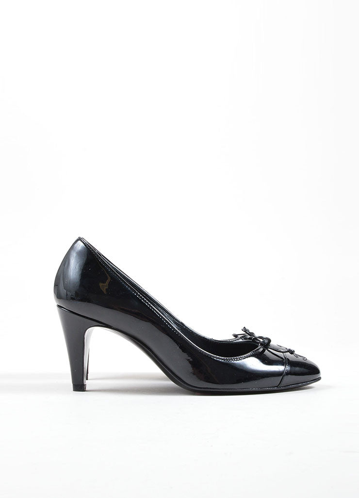 "Chanel Black Patent Leather ""CC"" Logo Bow Detail Almond Toe Pumps Sideview"