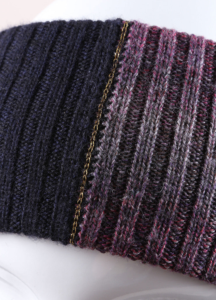 Chanel Purple and Navy Blue Knit Sweater Headband  Detail