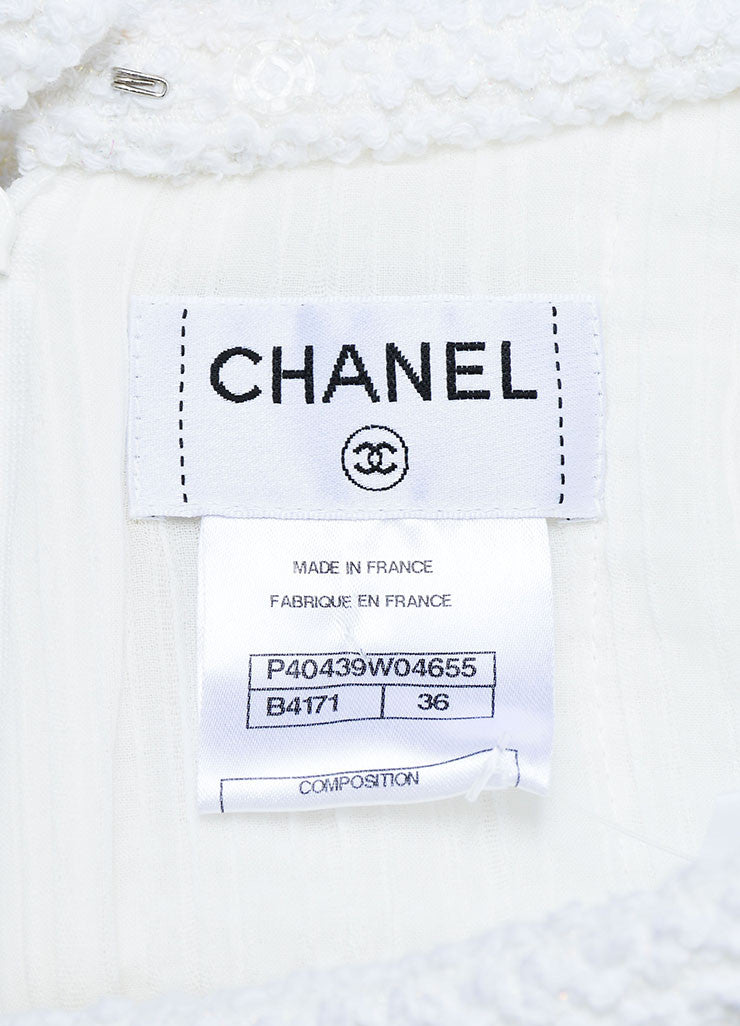 White Chanel Cotton Blend Boucle Slit A-Line Skirt Brand