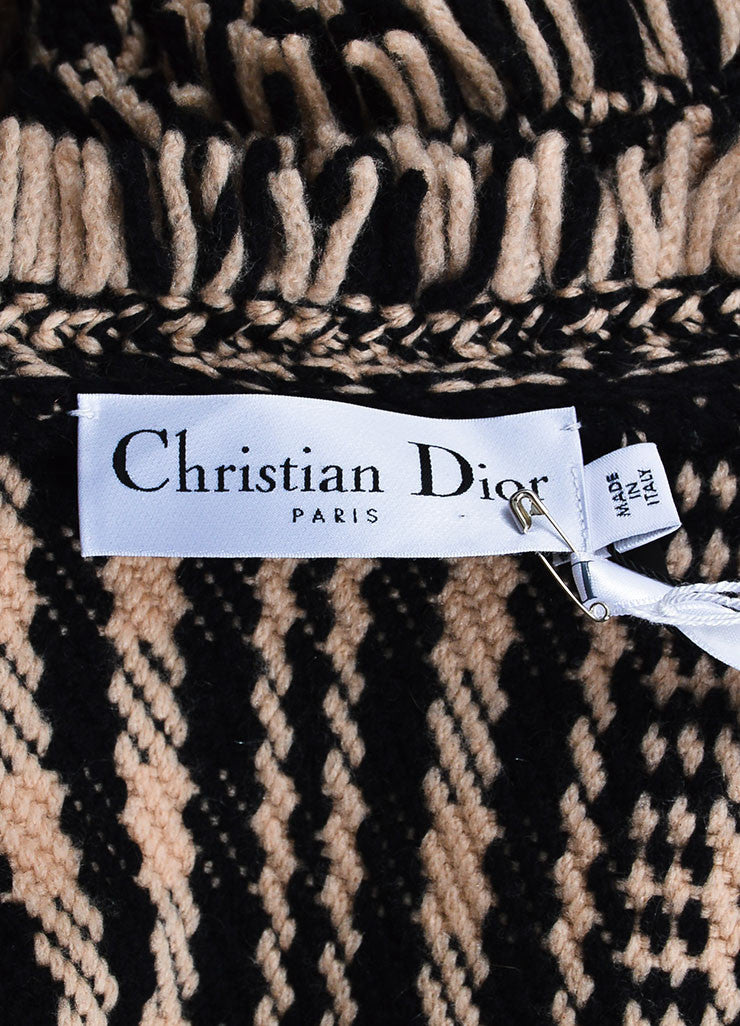 Black and Beige Christian Dior Knit Fringe Long Open Tie Cardigan Brand