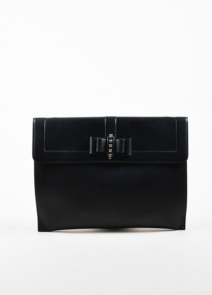 "Black Leather Christian Louboutin ""Sweet Charity Case"" Envelope Clutch Bag Frontview"