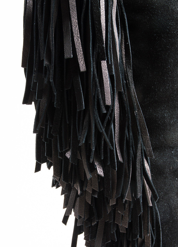 "Christian Louboutin Black Suede Fringe ""Pouliche 70"" Knee High Wedge Boots Detail"