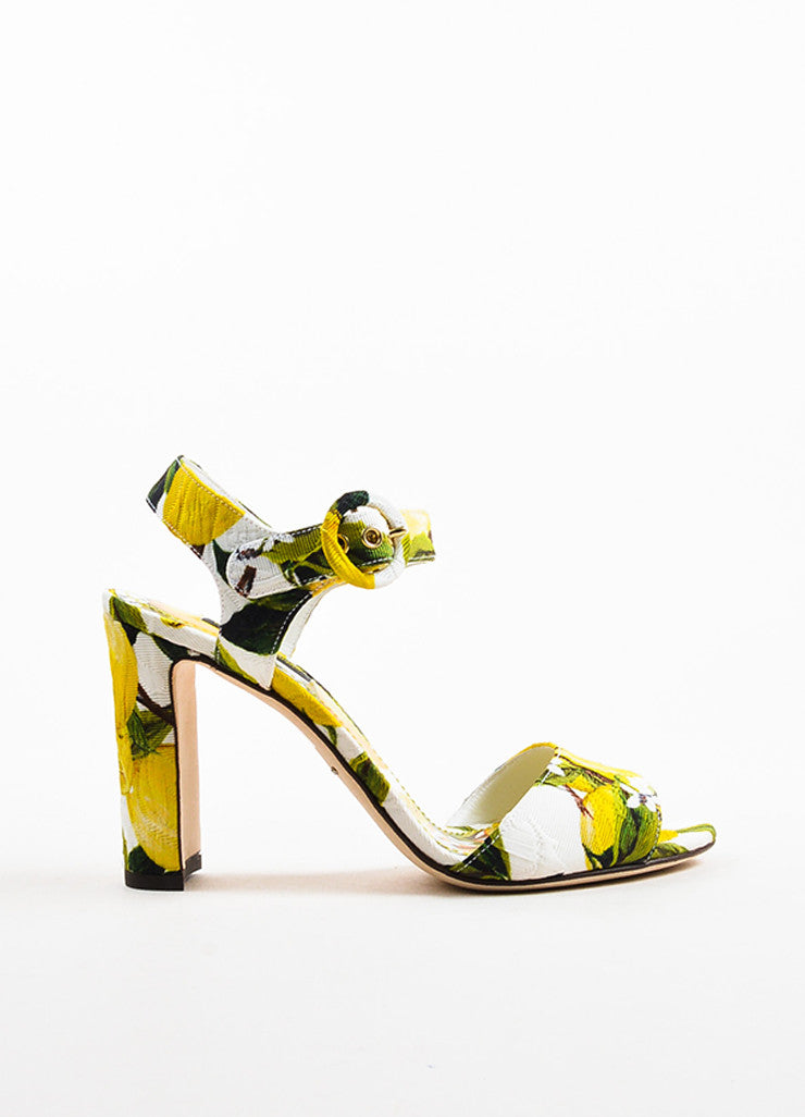 Dolce & Gabbana Yellow and White Brocade Lemon Printed Heeled Sandals Sideview