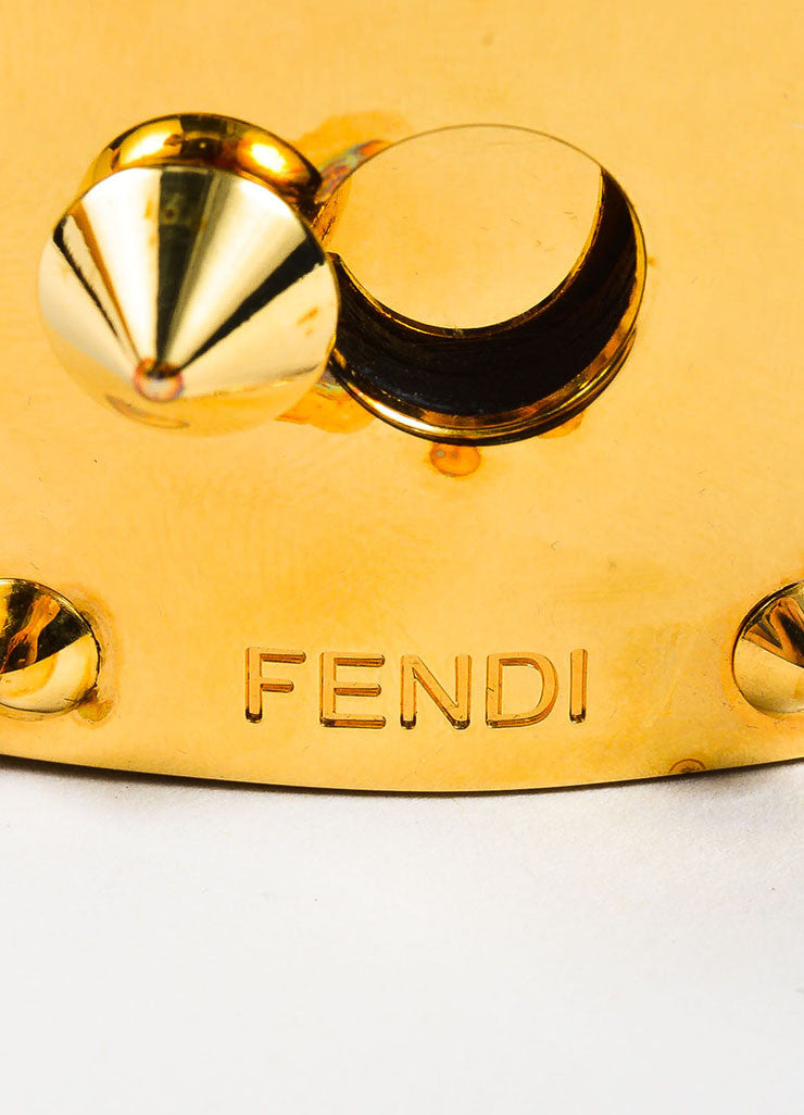 "Fendi Gold Toned, Black, and Cream Snakeskin Leather ""Goldmine"" Wide Bracelet Brand"