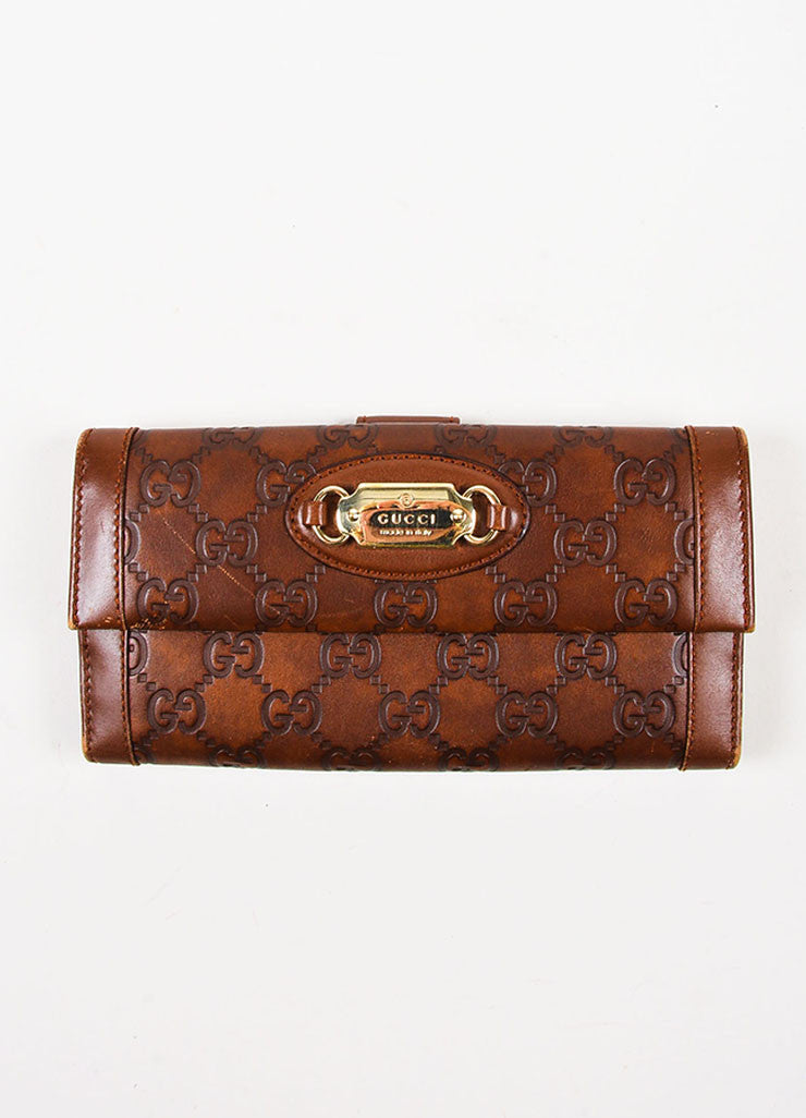 "Gucci Brown ""Guccissima"" Leather Monogram Two Sided Snap Long Wallet Frontview"