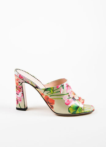 "Gucci Silver and Pink Leather Floral ""Soft St. Blooms"" Mule Sandals Sideview"