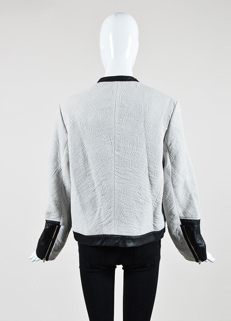 Grey and Black Helmut Lang Wool Blend Jacquard Leather Zip Jacket Backview